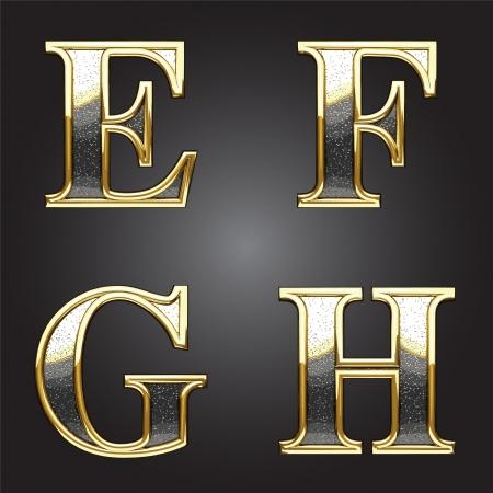 abecedario: Oro y plata de la figura de vectores Vectores