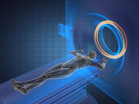 MRI-onderzoek gemaakt in 3D graphics Stockfoto