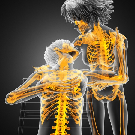 nice breast: Sexy  lesbians in radiography scan made in 3d Stock Photo