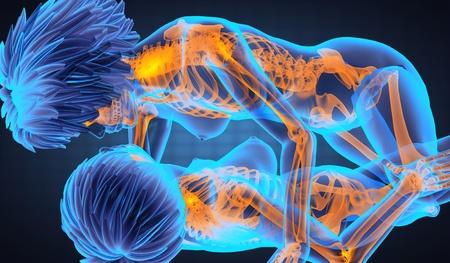 Sexy lesbianas en la radiografía de exploración realizados en 3D Foto de archivo