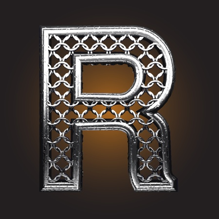 letter r: Metal figure made in vector