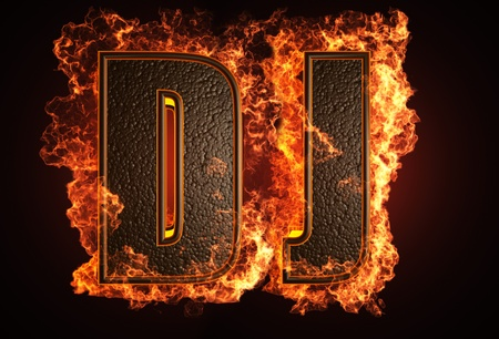 flame letters: burning word made in 3D graphics Stock Photo