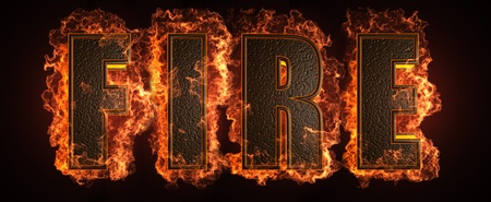 burnt wood: burning word made in 3D graphics Stock Photo