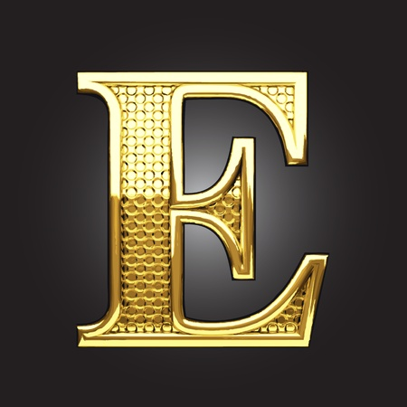 script font: golden figure made in vector