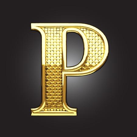 letter p: golden figure made in vector