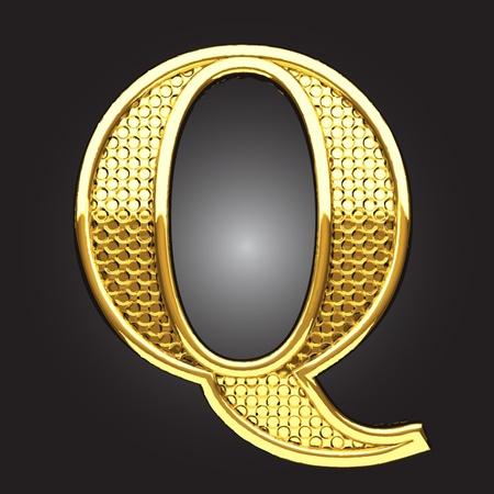 letter q: golden figure made in vector