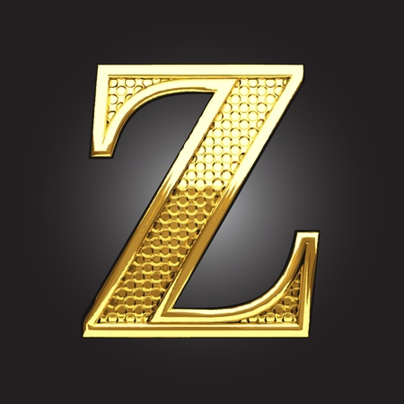 letter a z: golden figure made in vector