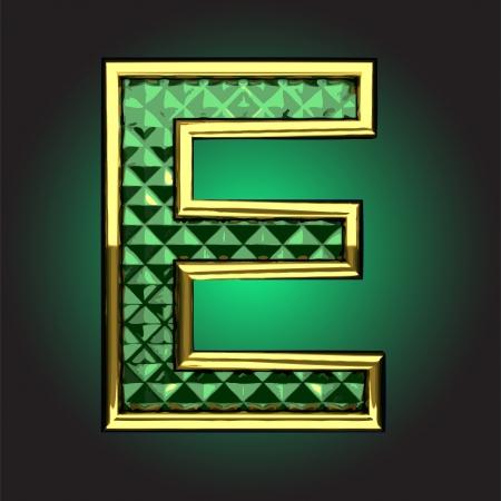 golden figure with emerald
