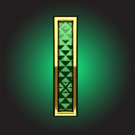 golden figure with emerald Vector