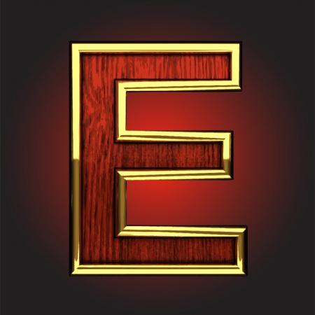 solid figure: figura dorata in legno rosso fatta nel vettore