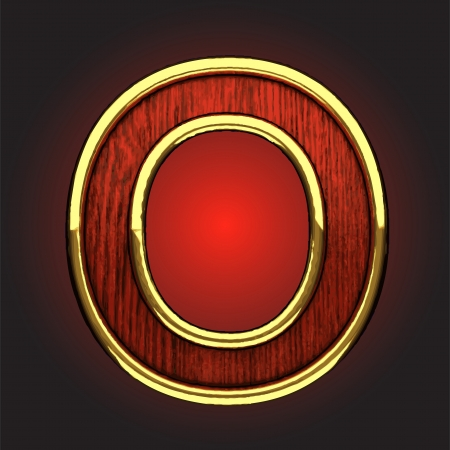 golden figure with red wood  Vector