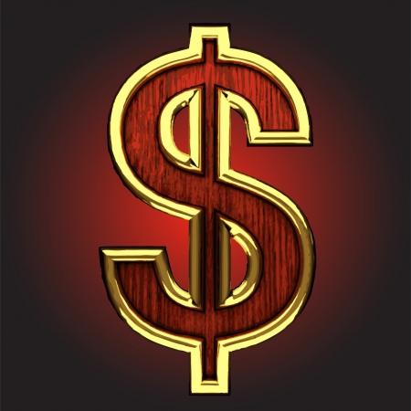 dolar: la figura de oro con madera de color rojo