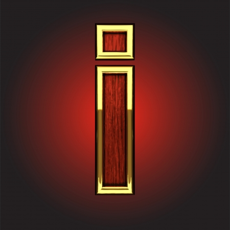 polished wood: golden figure with red wood made in vector