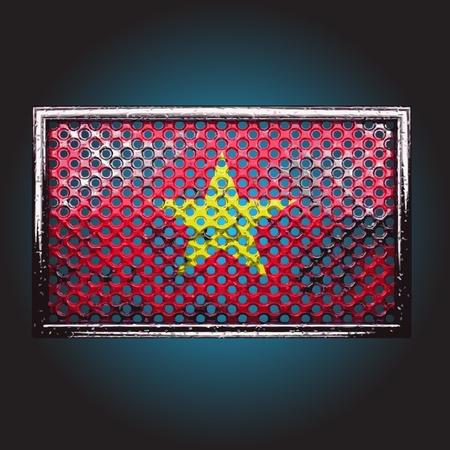 vietnam war: flag on old metal