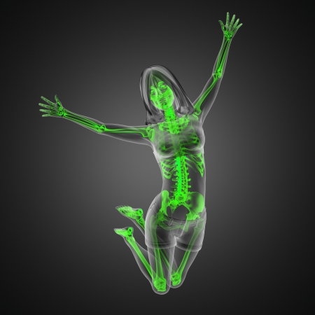 jump woman radiography made in 3D photo