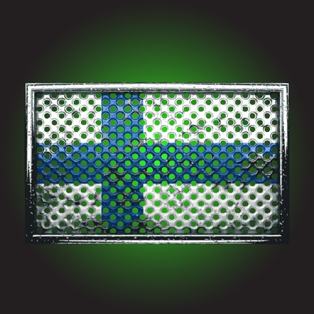 rusting: flag on old metal made in vector