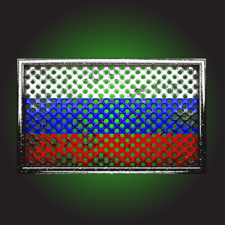 oxidized: flag on old metal made in vector