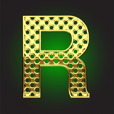 letter r: golden figure made in vector