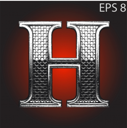 letter h: silver figure made in vector