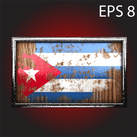 rusting: flag on old wood made  Illustration