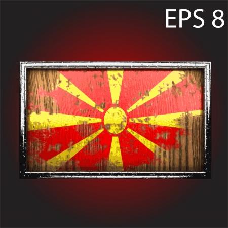 macedonia: flag on old wood made  Illustration