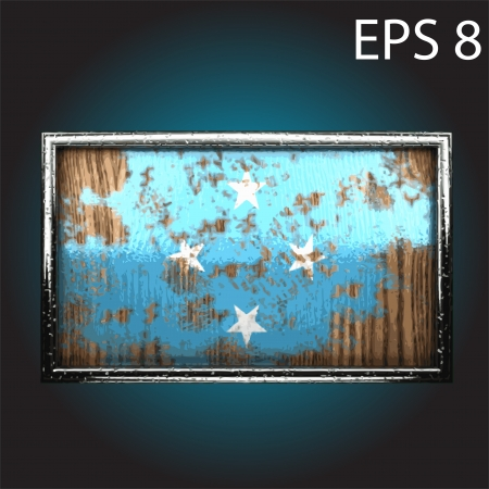 oxidizing: flag on old wood made