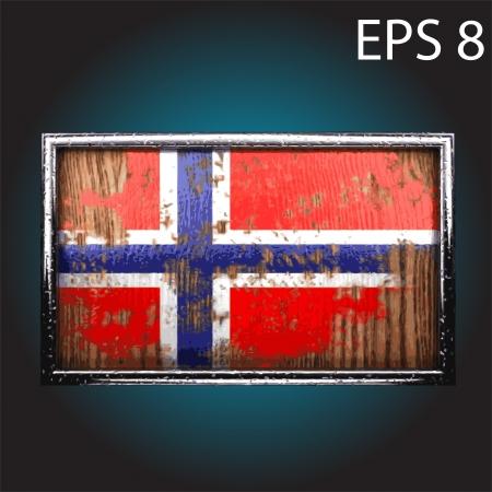 oxidized: flag on old wood made  Illustration