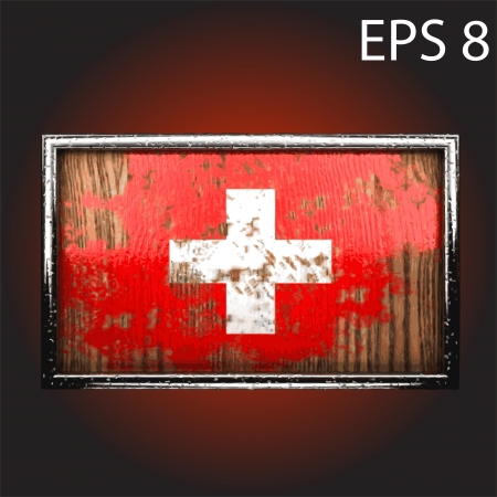 rusting: flag on old wood made