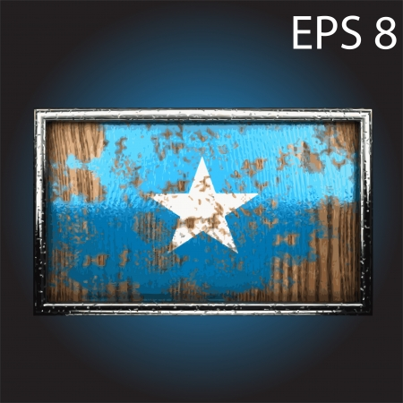 oxidized: flag on old wood made