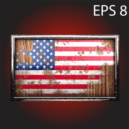 flag on old wood made Vector