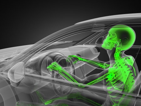 transparent car concept with driver made in 3D Stock Photo - 13962898