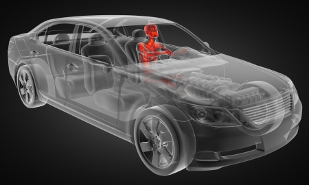 X RAY: transparent car concept with driver made in 3D Stock Photo