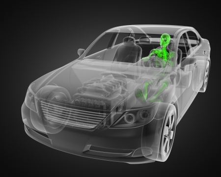 transparent car concept with driver made in 3D Stock Photo - 13962897