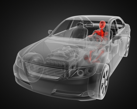 transparent car concept with driver made in 3D Stock Photo