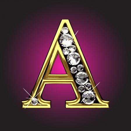 uppercase: figura de oro con diamantes hechos en el vector