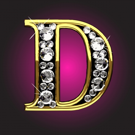 diamond letters: golden figure with diamonds made in vector Illustration