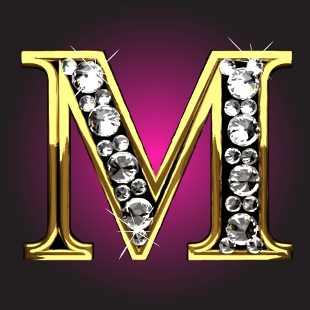 letter m: golden figure with diamonds