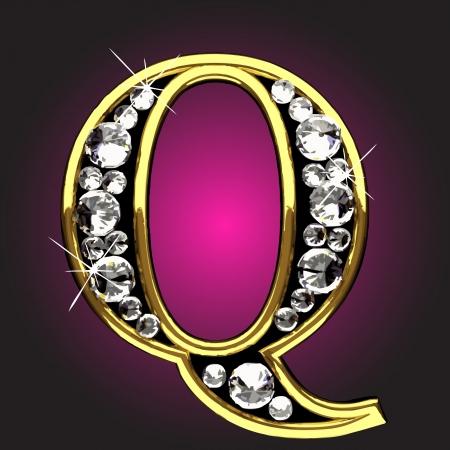 chiffre d'or avec diamants