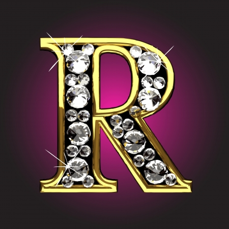 diamond letters: golden figure with diamonds