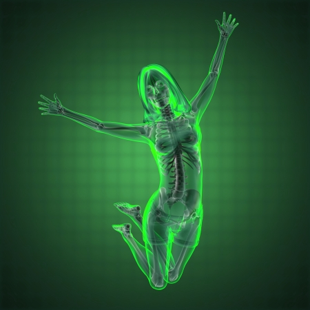 roentgen: cute woman radiography made in 3D graphics Stock Photo