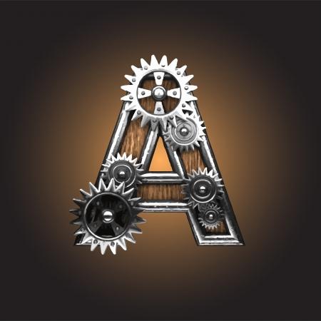 wooden figure: metal figure  with gearwheels