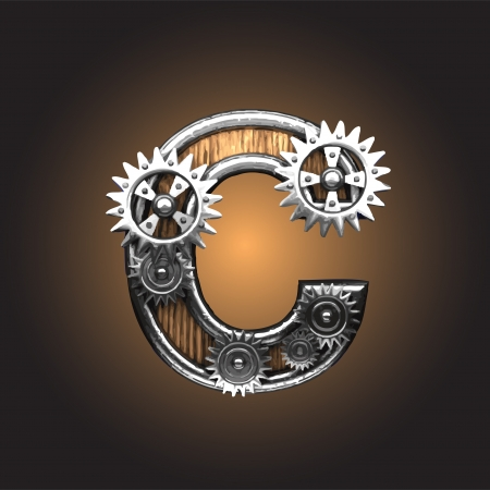 metal figure  with gearwheels made in vector