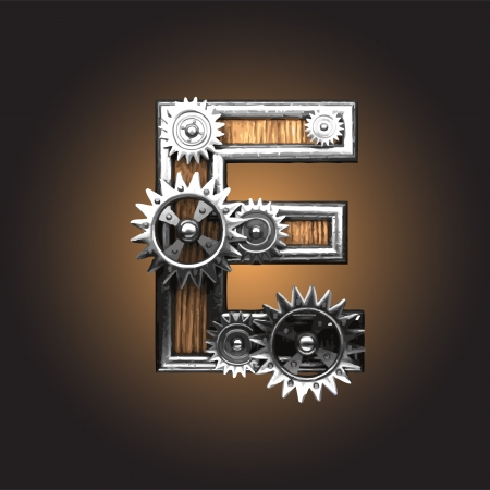 metal figure  with gearwheels made in vector Vector