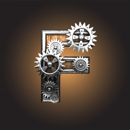 metal figure  with gearwheels made in vector Stock Vector - 14111333