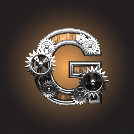 g: metal figure  with gearwheels made in vector