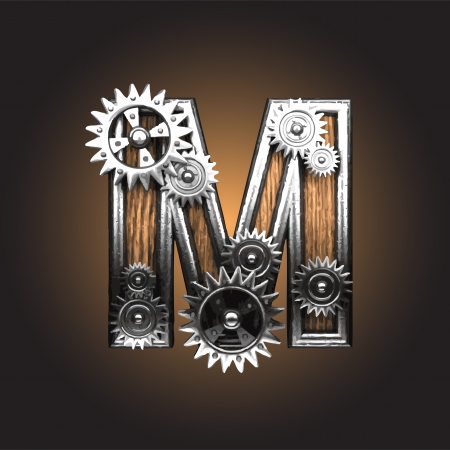 letter m: metal figure  with gearwheels made in vector