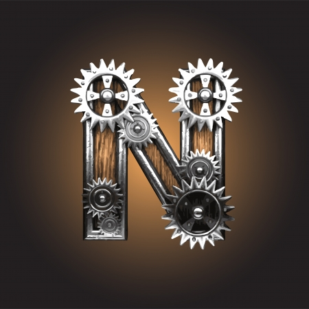 letter n: metal figure  with gearwheels made in vector