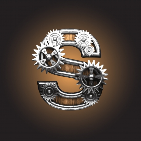 metal figure  with gearwheels  Illustration
