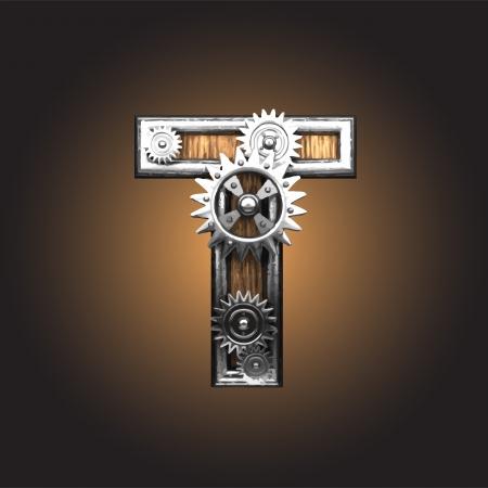 metal figure  with gearwheels  Vector
