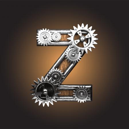 metal figure  with gearwheels made in vector Vector